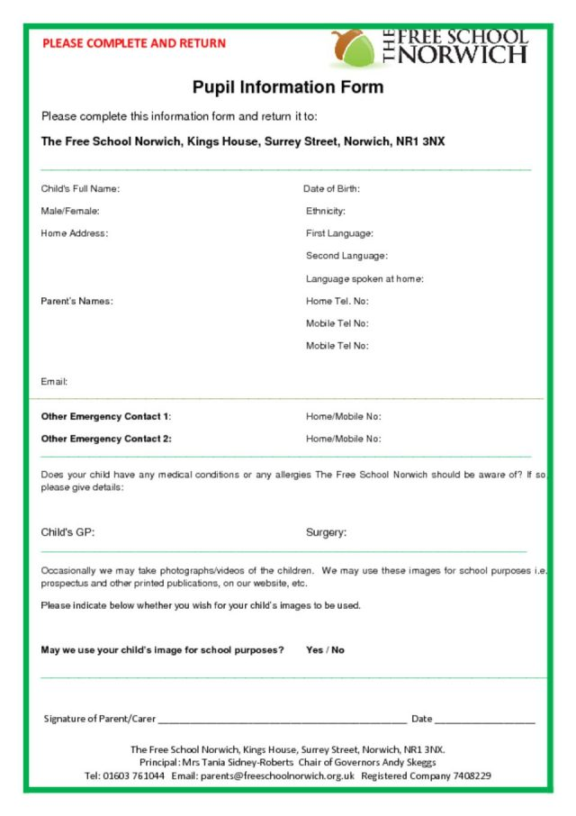 thumbnail of FSN Pupil Information Form