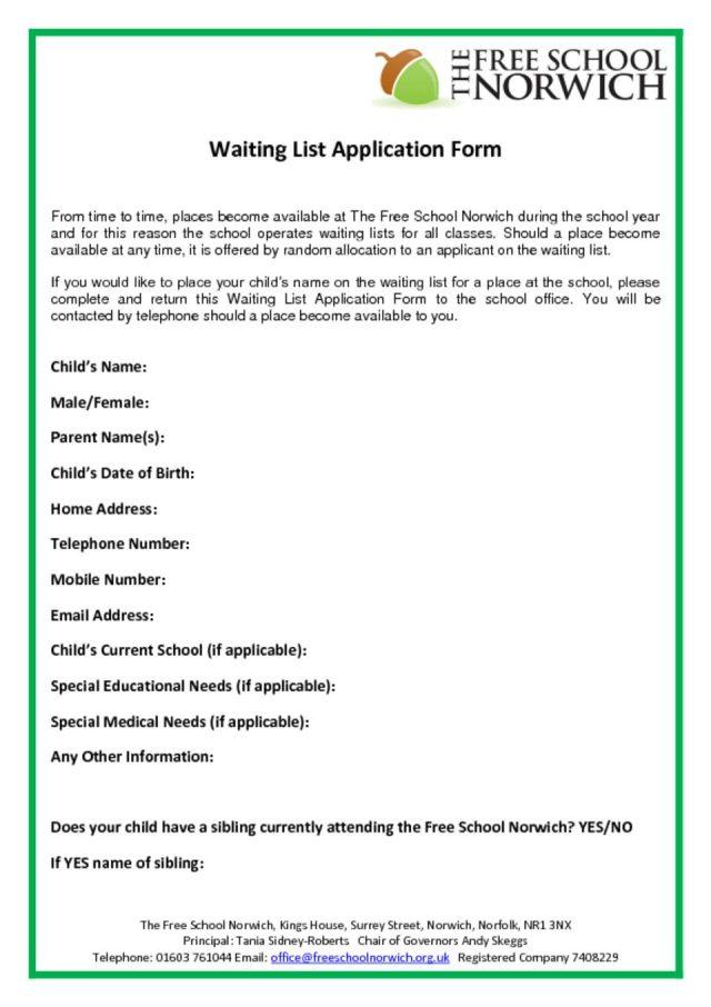 thumbnail of Waiting List Application Form