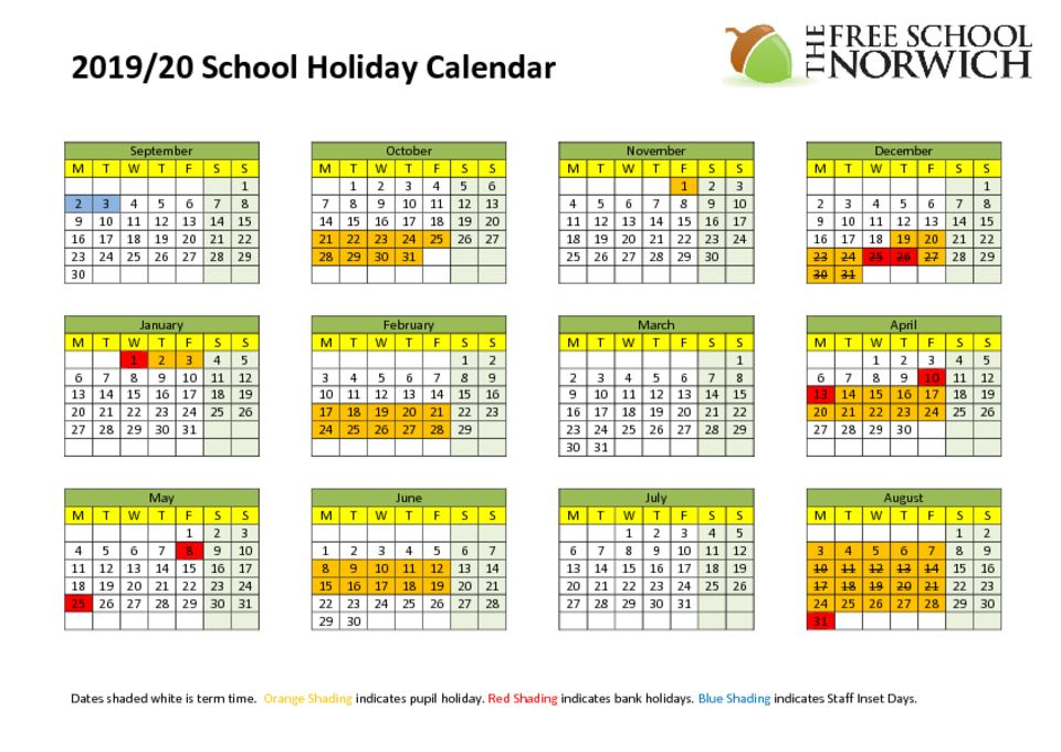 thumbnail of Calendar School Term Dates 2019-20