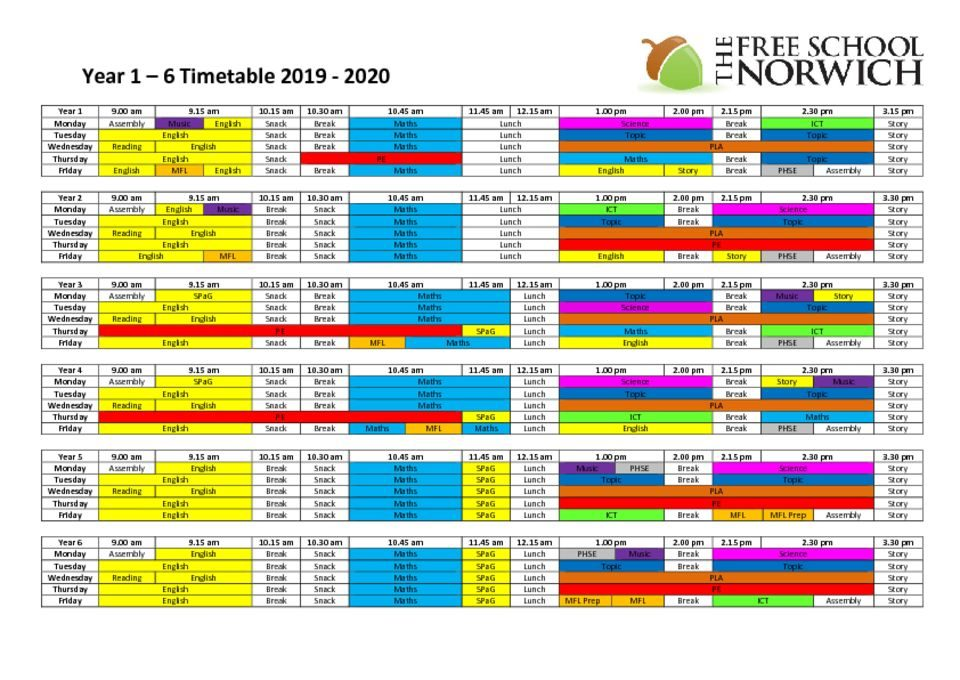 thumbnail of Year 1 – 6 Timetable 2019 – 2020