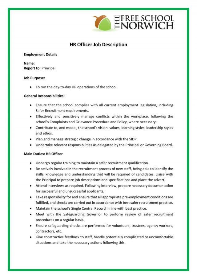 thumbnail of HR Officer Job Description